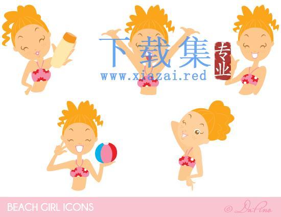 沙滩可爱黄发女孩免扣PNGICONS图标集