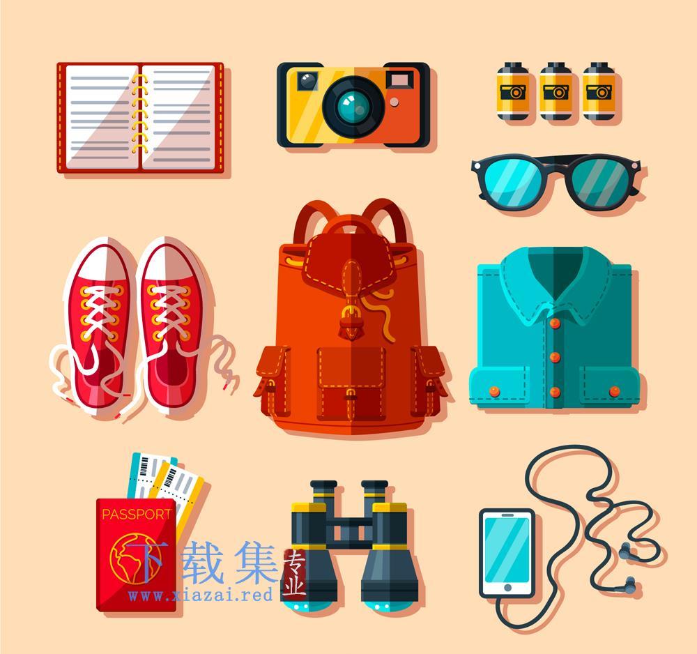 10款色彩旅游用品矢量素材