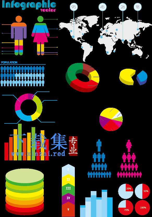 饼图和柱形图信息图形设计矢量元素