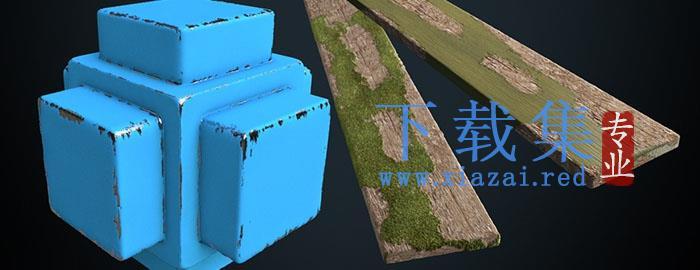 C4D破旧磨损铁皮材质创意场景3D模型素材