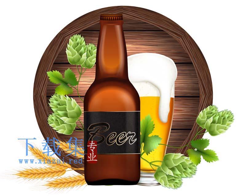 啤酒插图海报背景矢量素材