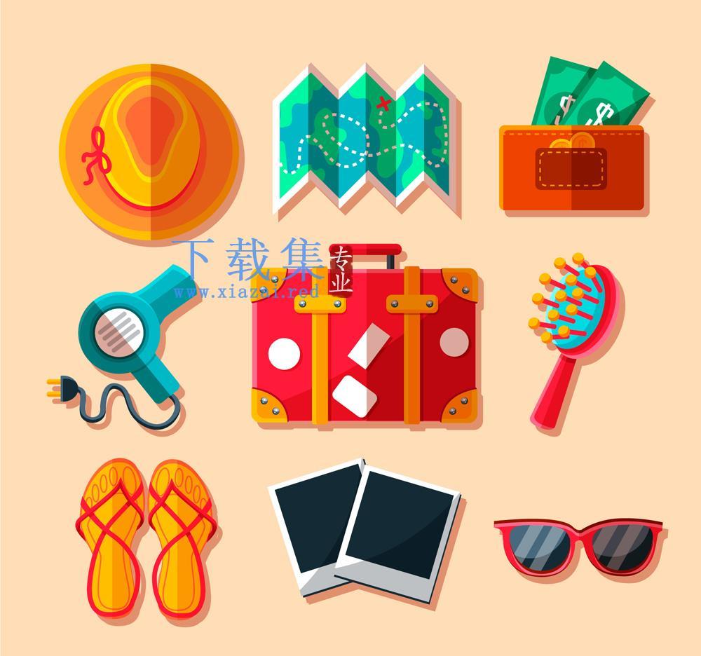 9款彩色扁平化旅行用品矢量素材