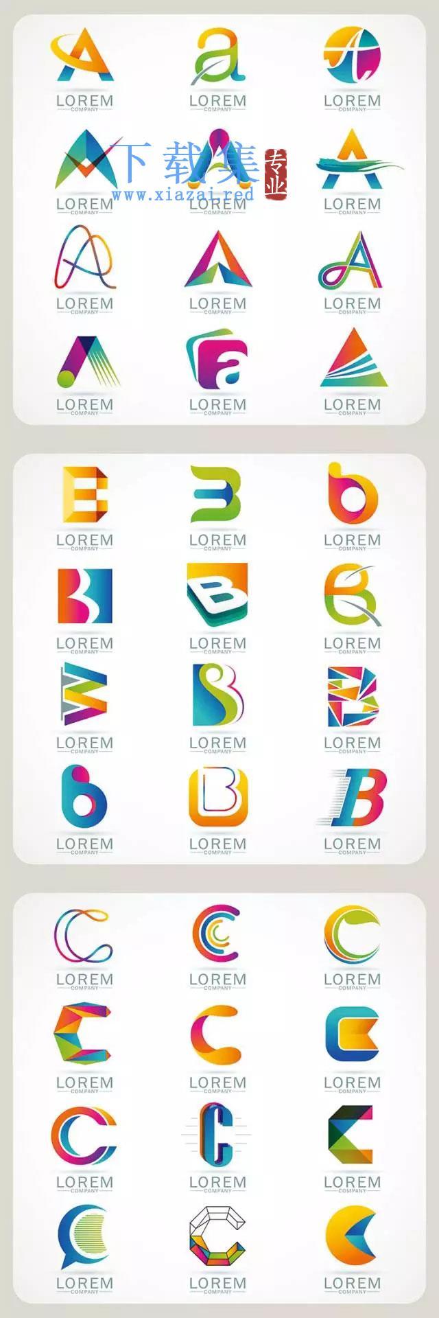 26个创意英文字母矢量素材