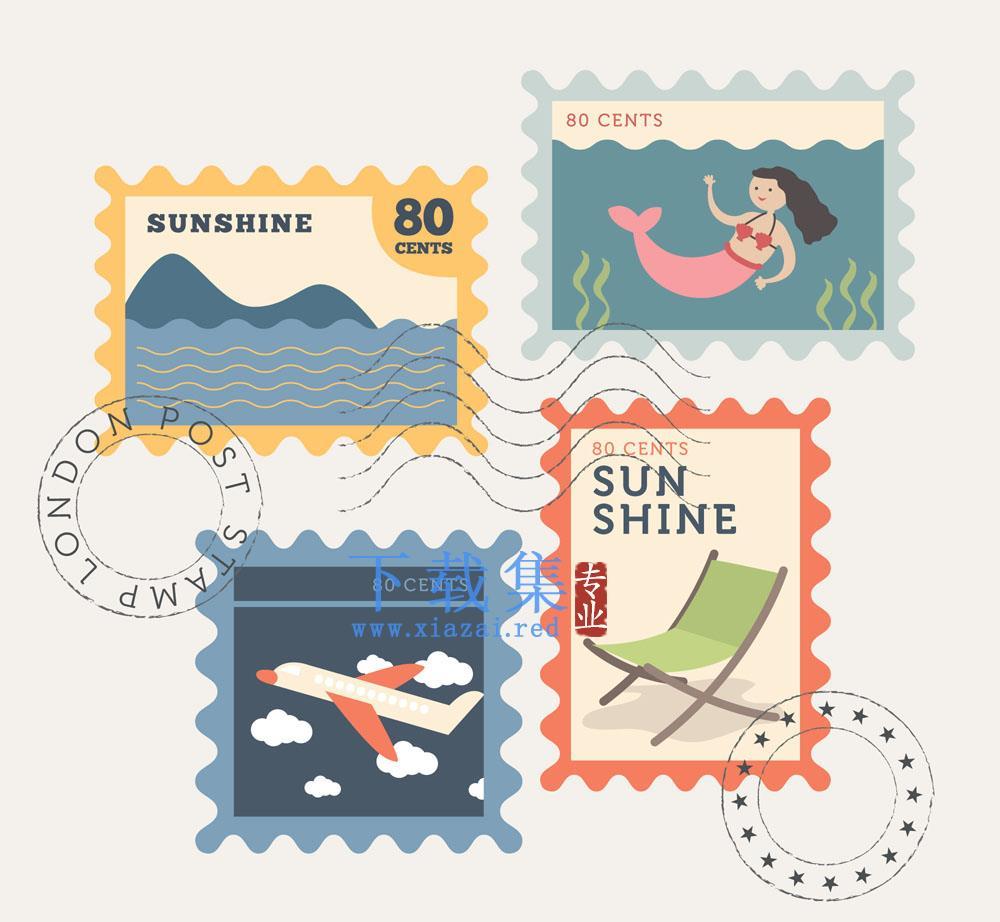 4个复古的夏季旅行元素邮票AI矢量素材  第1张