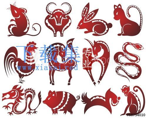 12生肖动物抽象矢量插图