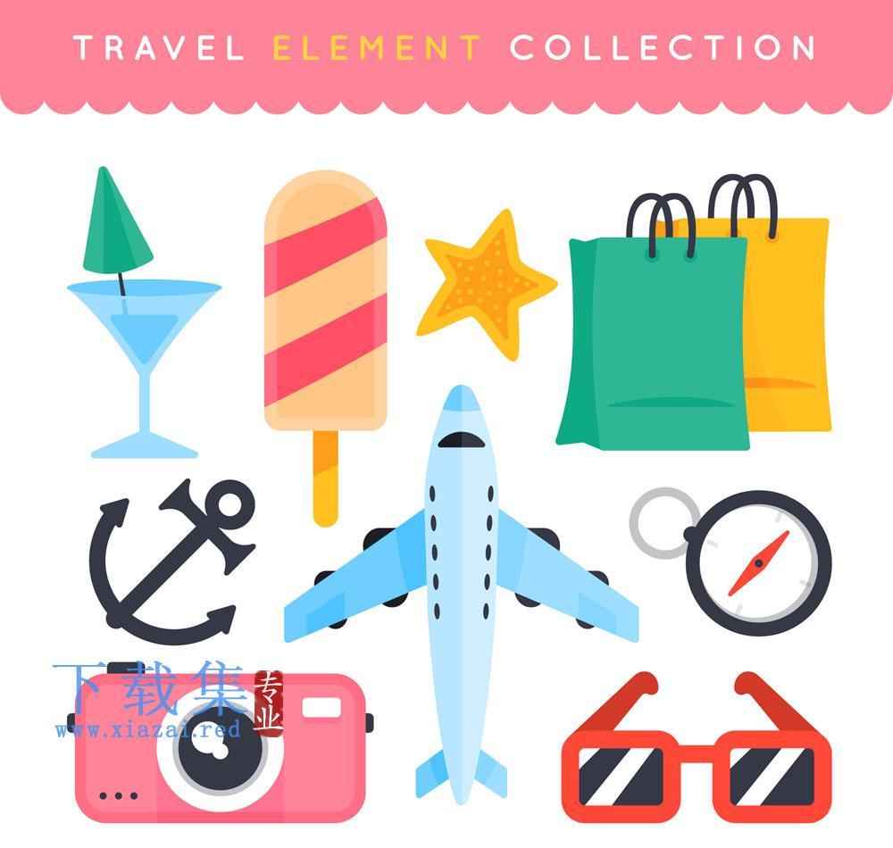 10个彩色旅行元素矢量素材