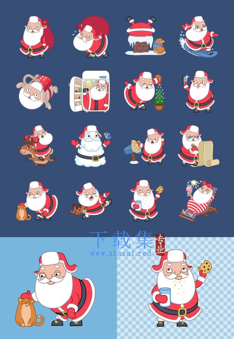 圣诞老人形态的PNG免抠图,圣诞老人透明素材