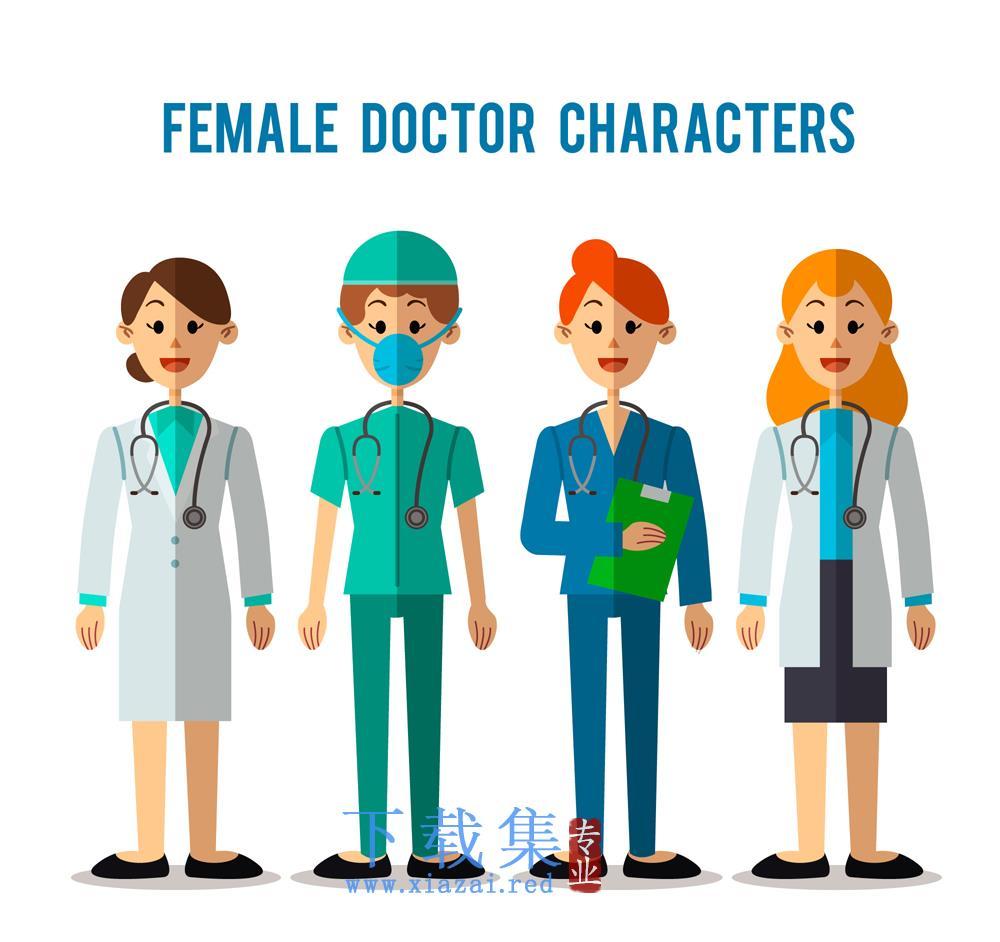 4个扁平化医护人员医生人物矢量素材