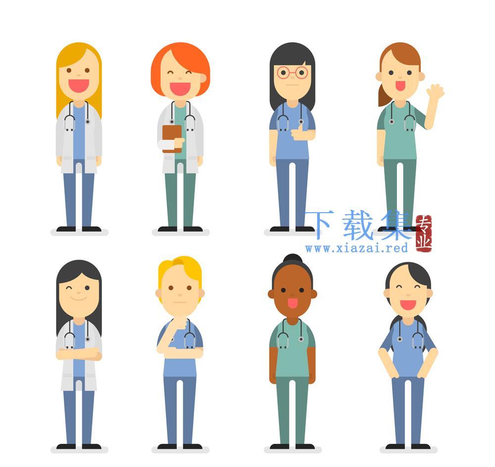 8个医务人员医生人物矢量素材