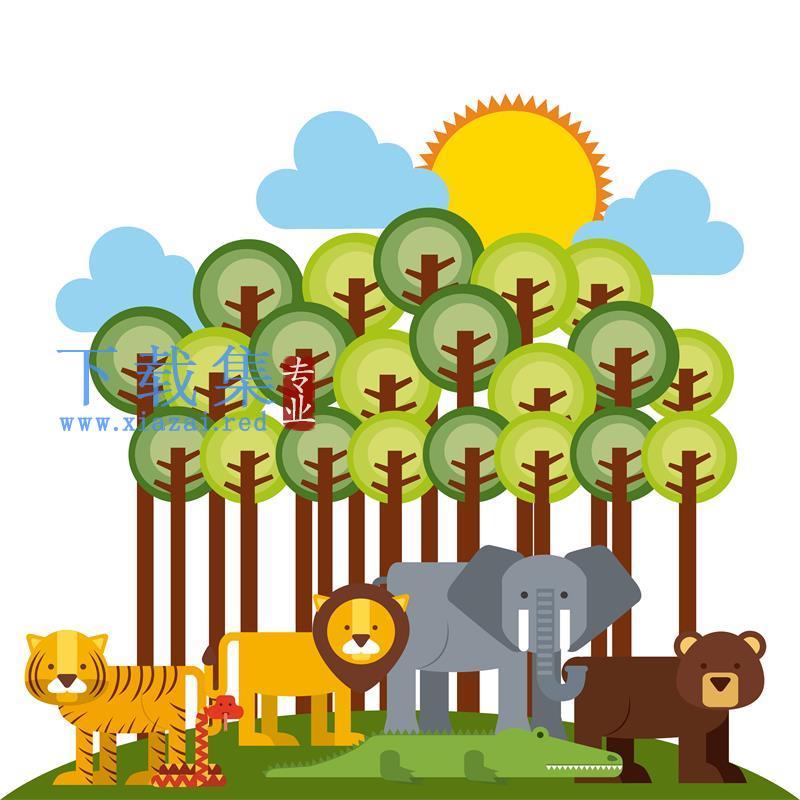 可爱森林野生动物及方形可爱动物头像矢量模板