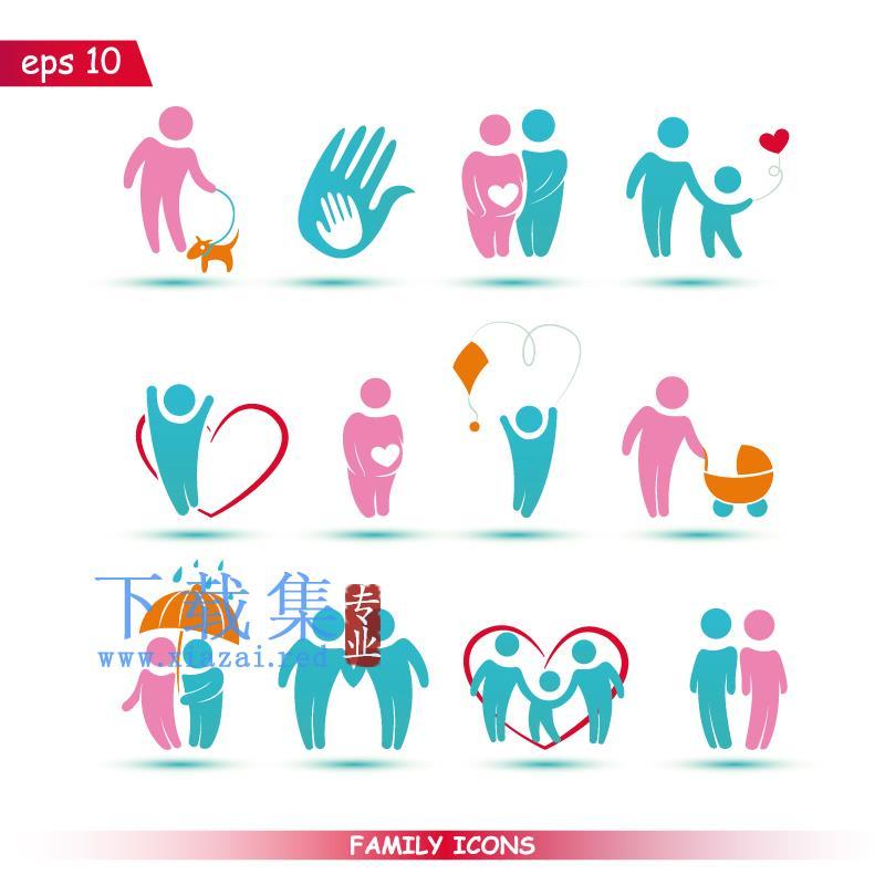 关爱家庭,关爱儿童EPS矢量图标