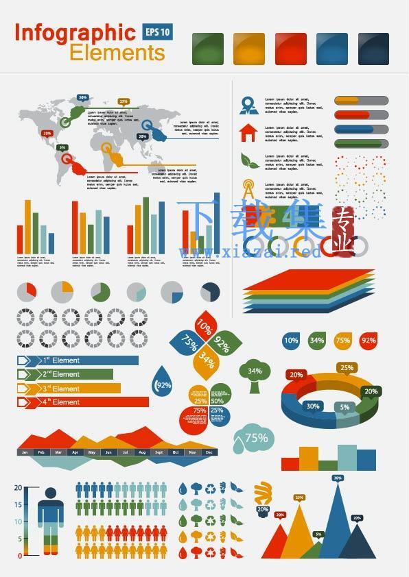 饼图和柱形图信息图形与图表矢量素材