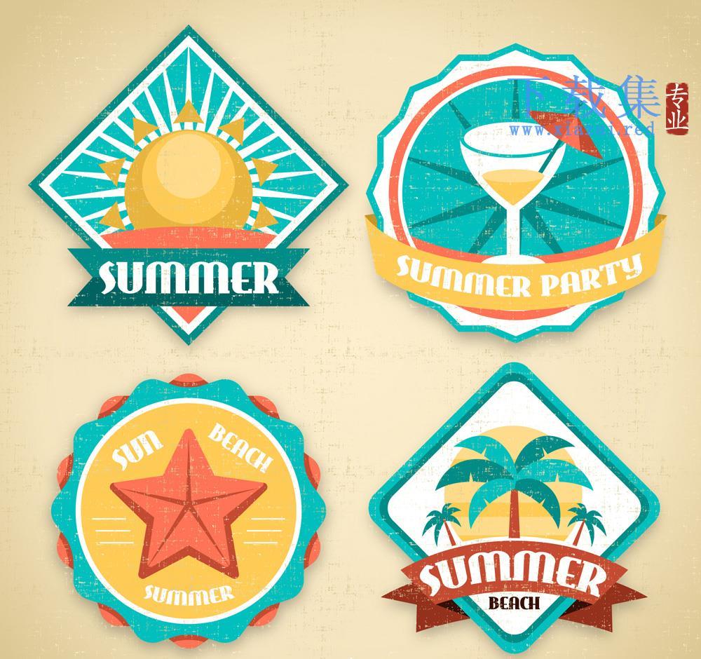 4个复古夏季矢量标签元素