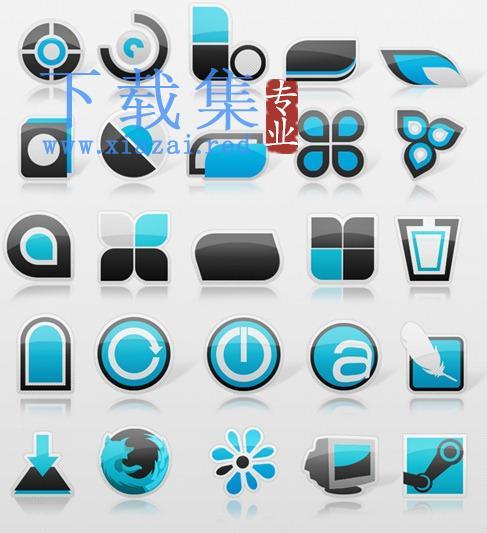 免费的蓝黑色dock图标集