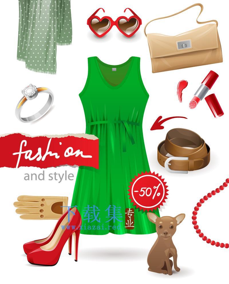 10个女性时尚用品和配饰EPS矢量素材  第1张