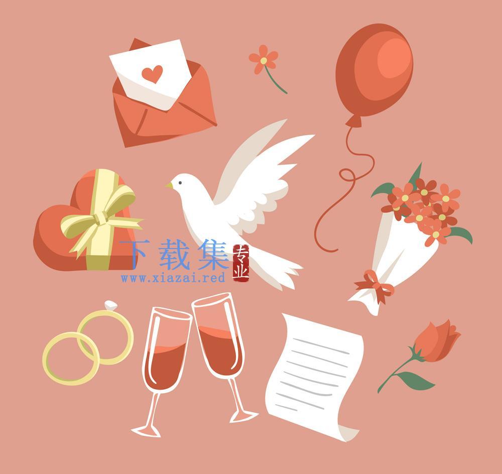 10个红色爱情婚礼设计矢量元素