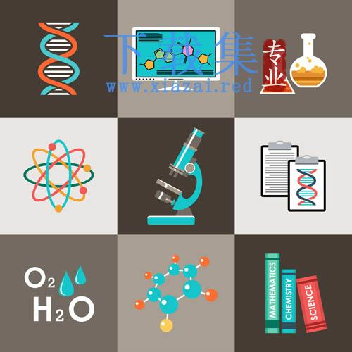 9个化学实验器材EPS矢量图标素材  第1张