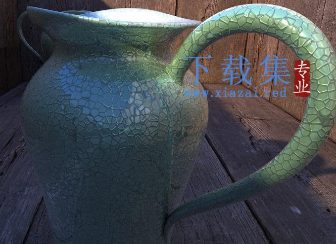 C4D龟裂纹瓷器材质创意场景3D模型素材