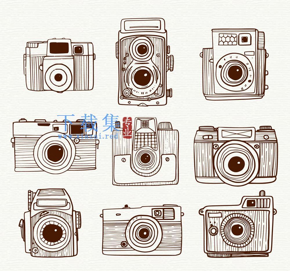 9款手绘相机矢量设计素材