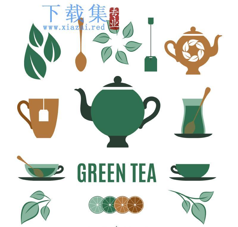 13个绿茶文化元素AI矢量图标  第1张