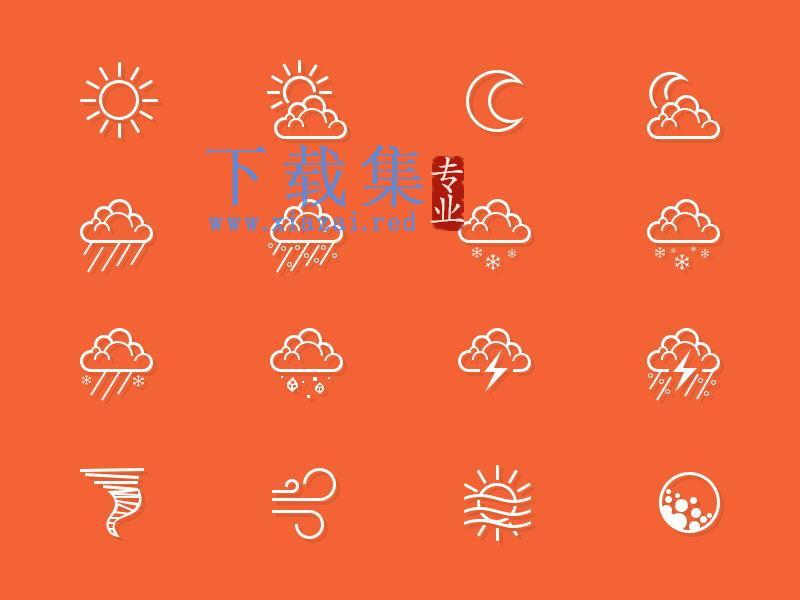 天气预报状态PSD源文件