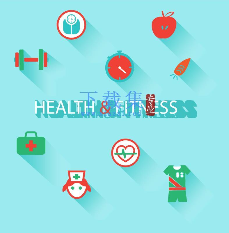 绿色食物与健康保健AI矢量图标
