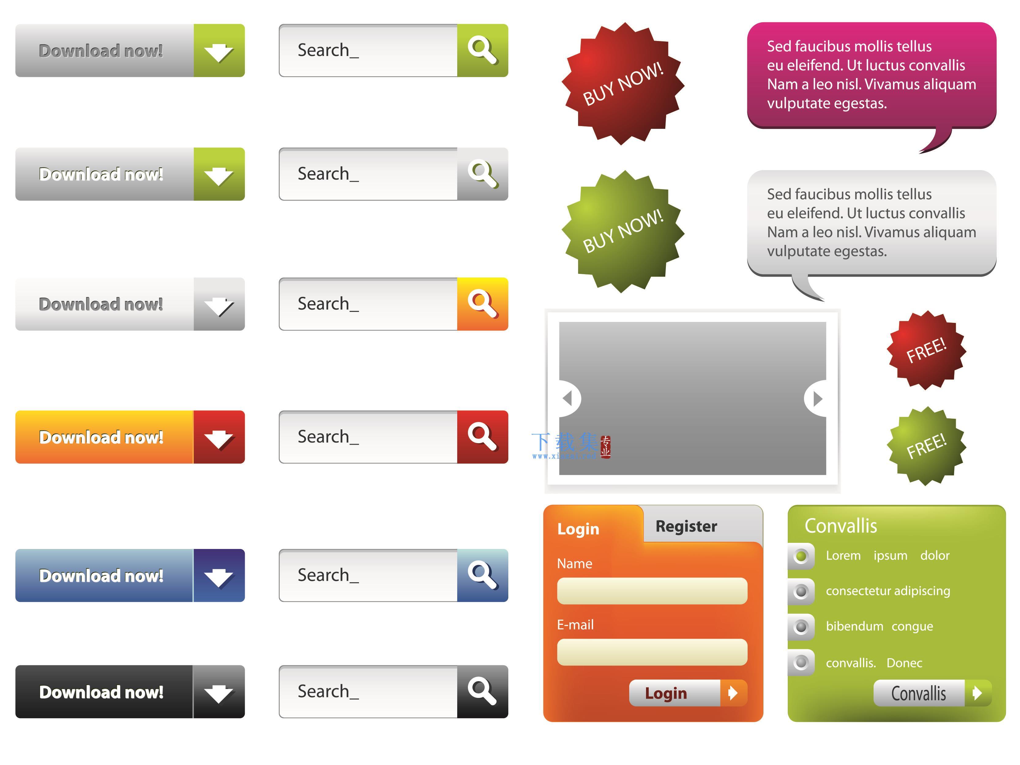 网页设计元素网页下载按钮PSD模板