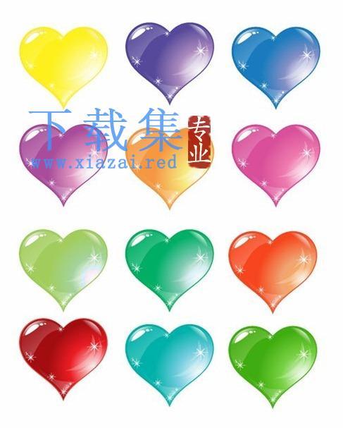 彩色爱心心形矢量图标