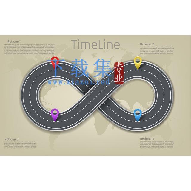世界地图,道路时间线布局EPS素材