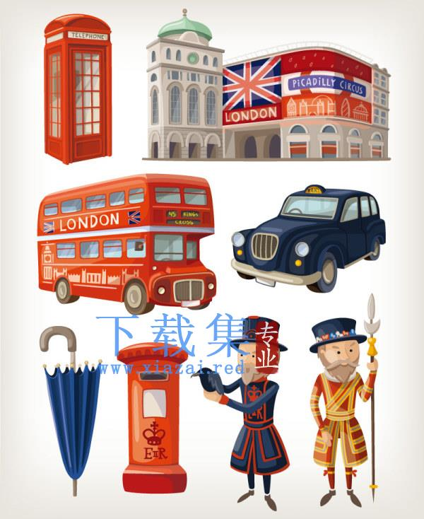 卡通伦敦设计元素EPS矢量图  第1张