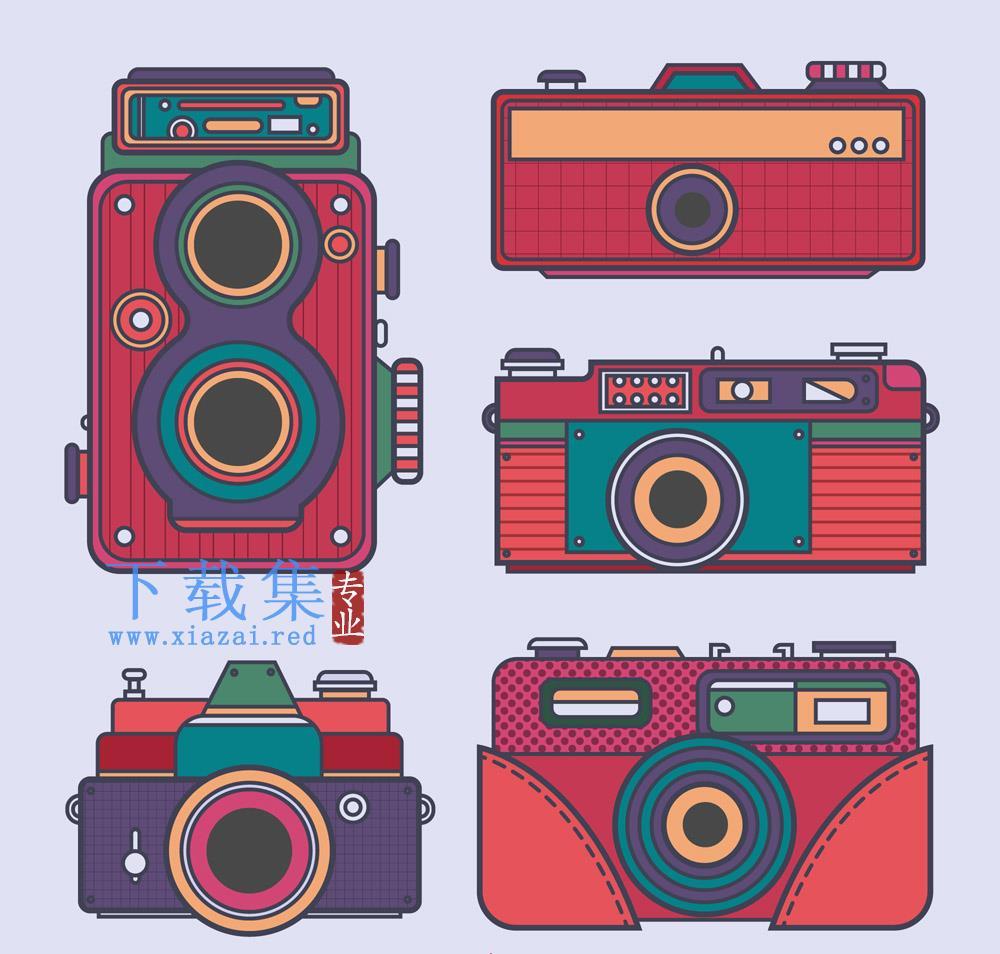 5个复古彩色摄像机照相机AI矢量素材