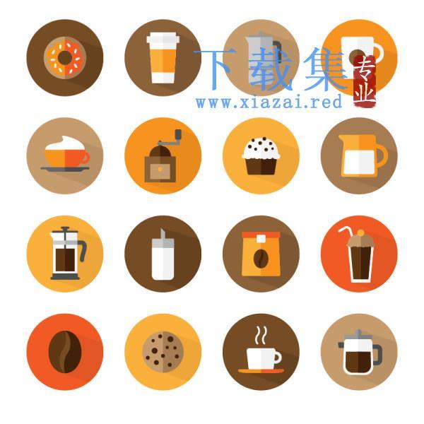 16个咖啡食物相关矢量图标