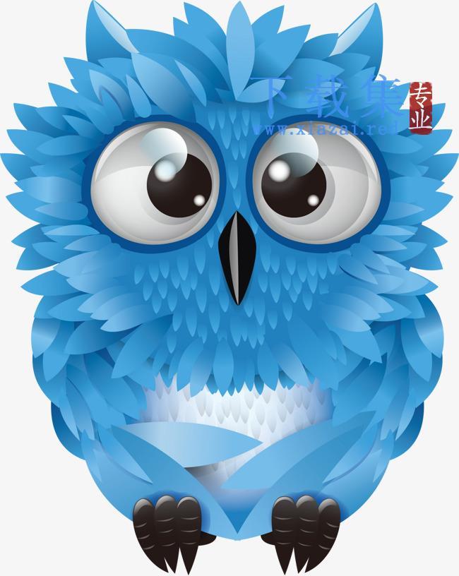 蓝色可爱猫头鹰矢量素材