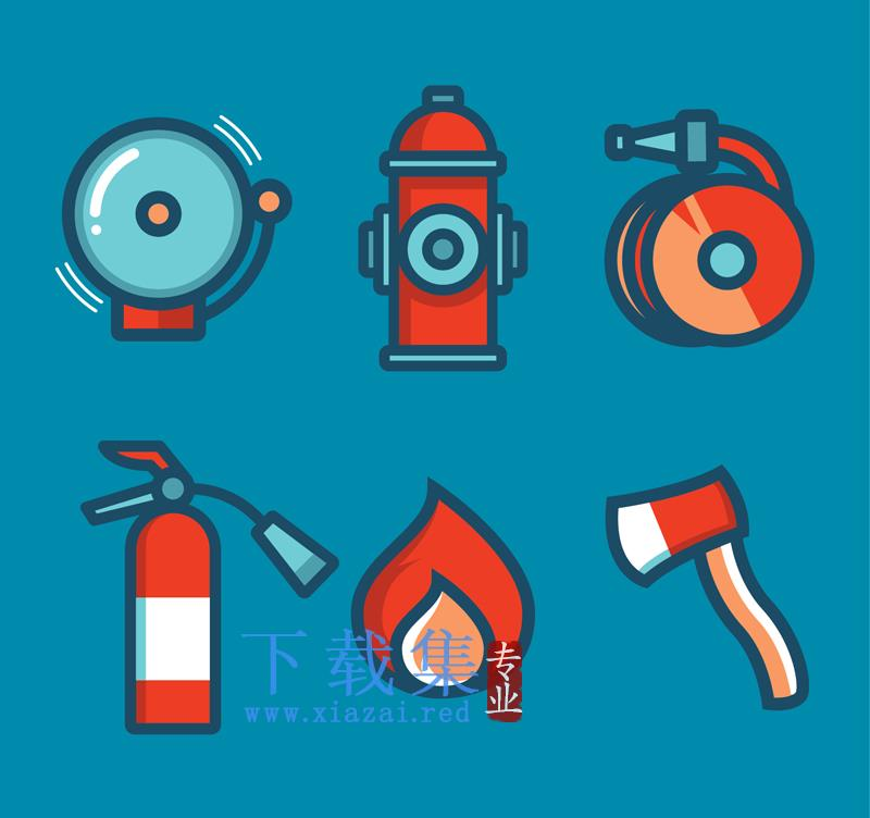 6个红色消防主题AI矢量图标  第1张