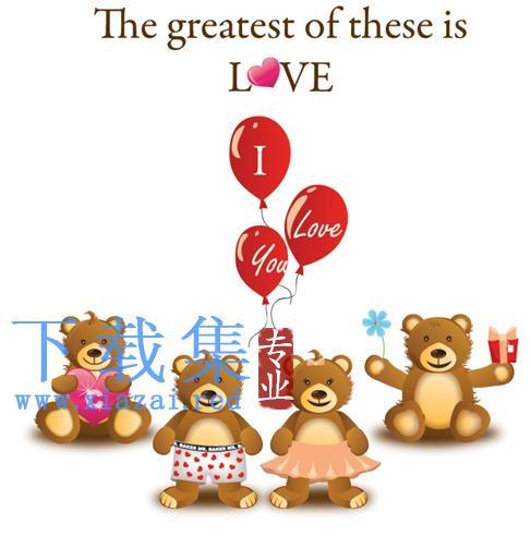 可爱泰迪熊爱情矢量图标