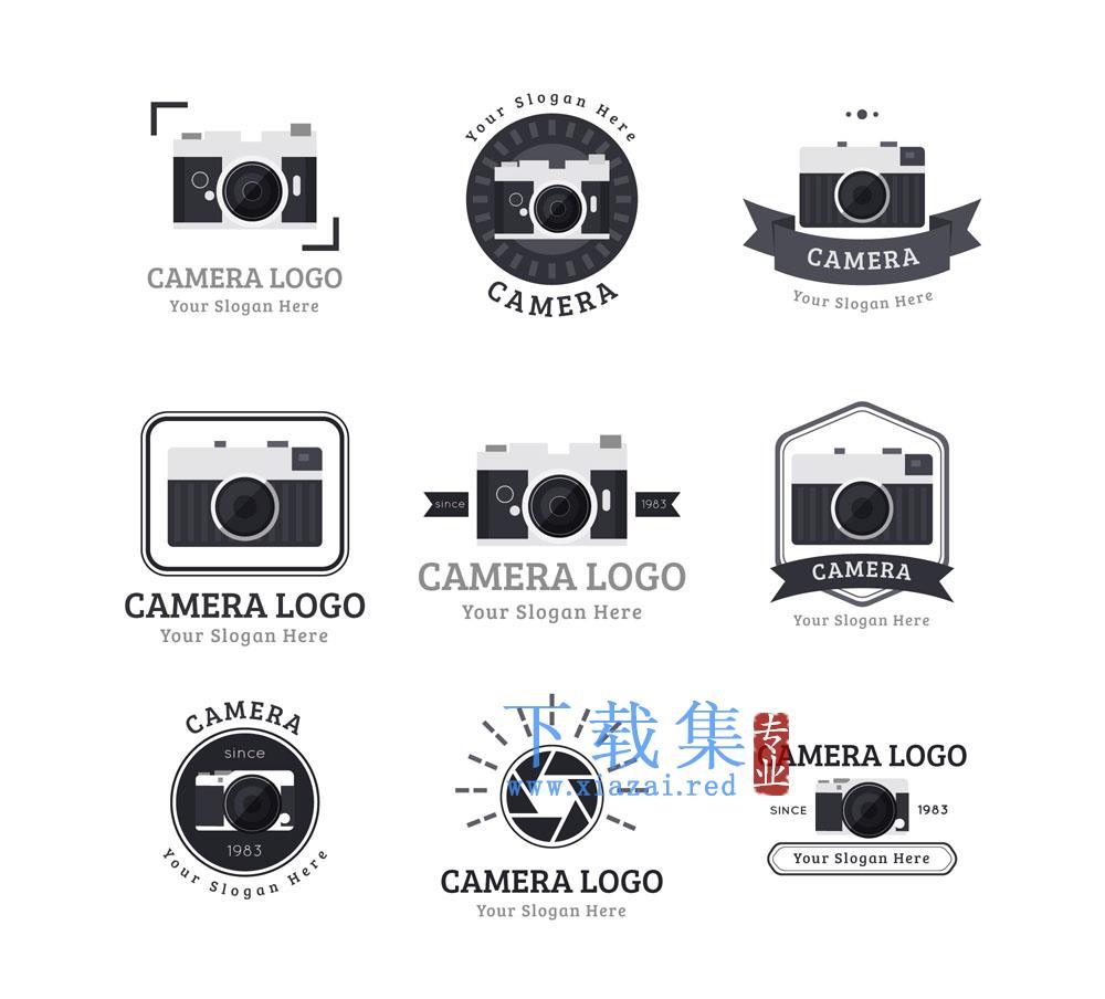 9个黑色相机标志矢量素材