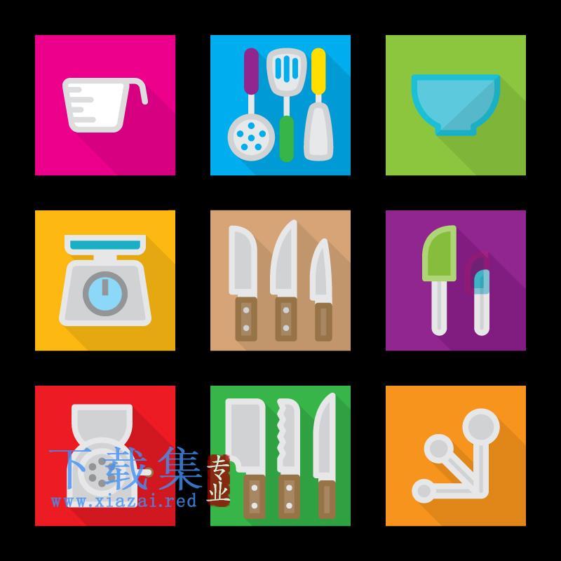 9个厨房用品,刀具,碗具等AI矢量素材