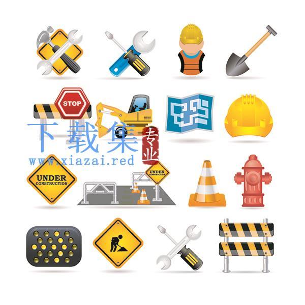 建筑工程施工警示牌,交通警示牌EPS矢量图标  第1张