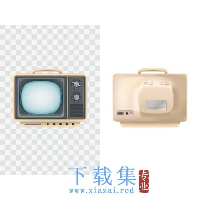 老式电视机,前视图、后视图矢量插图