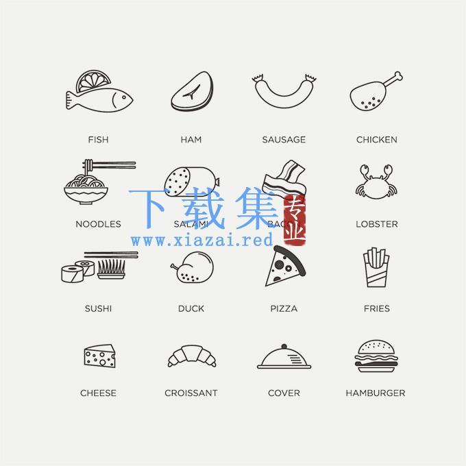 平面食物线条EPS矢量素材