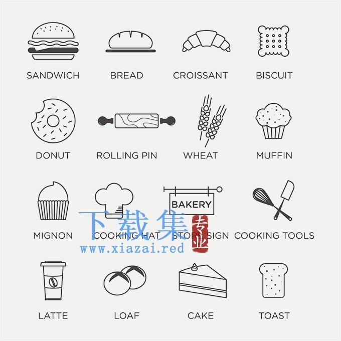 平面食物线条EPS矢量素材  第3张