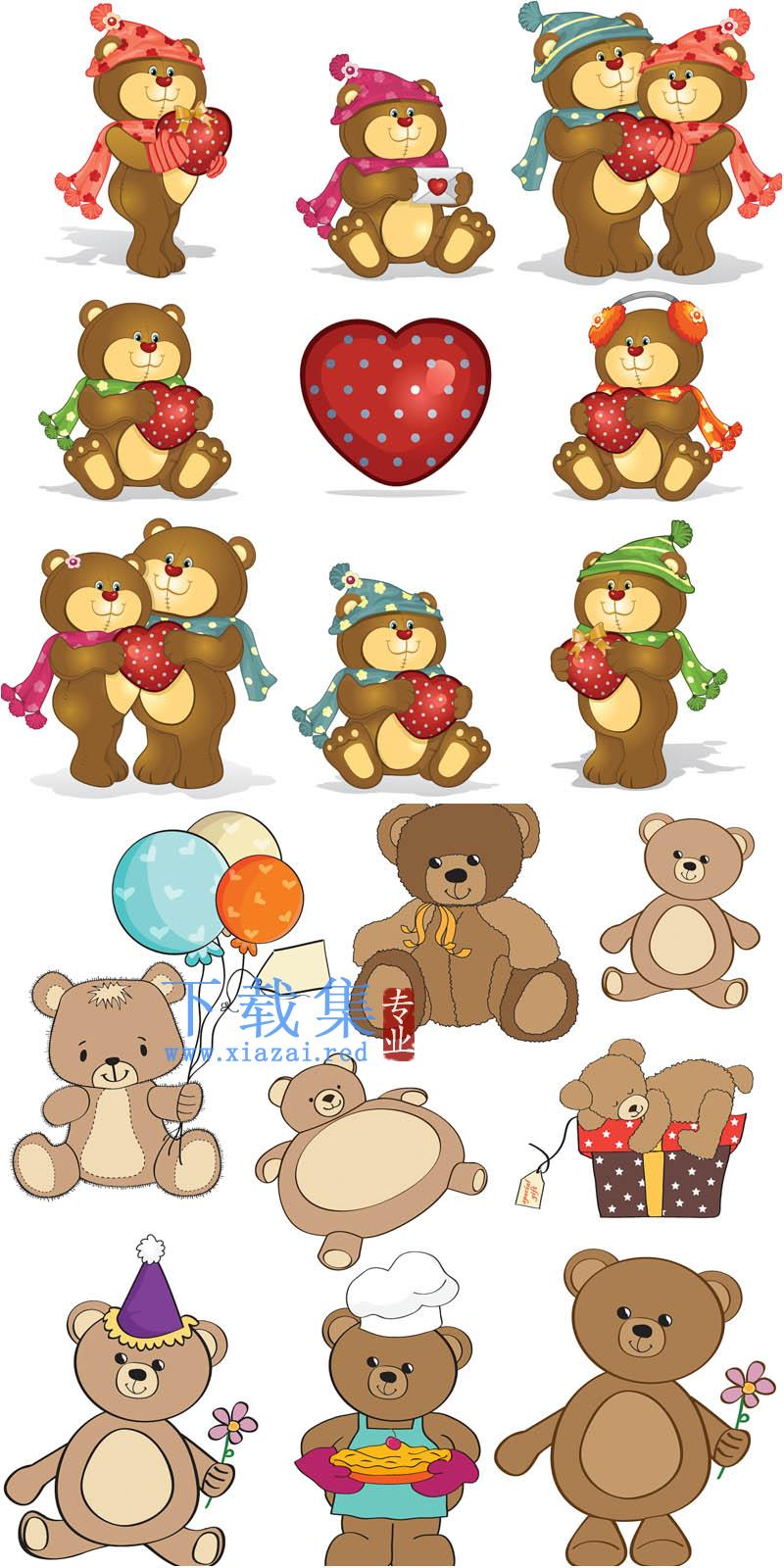 带有爱心的卡通熊AI素材  第1张