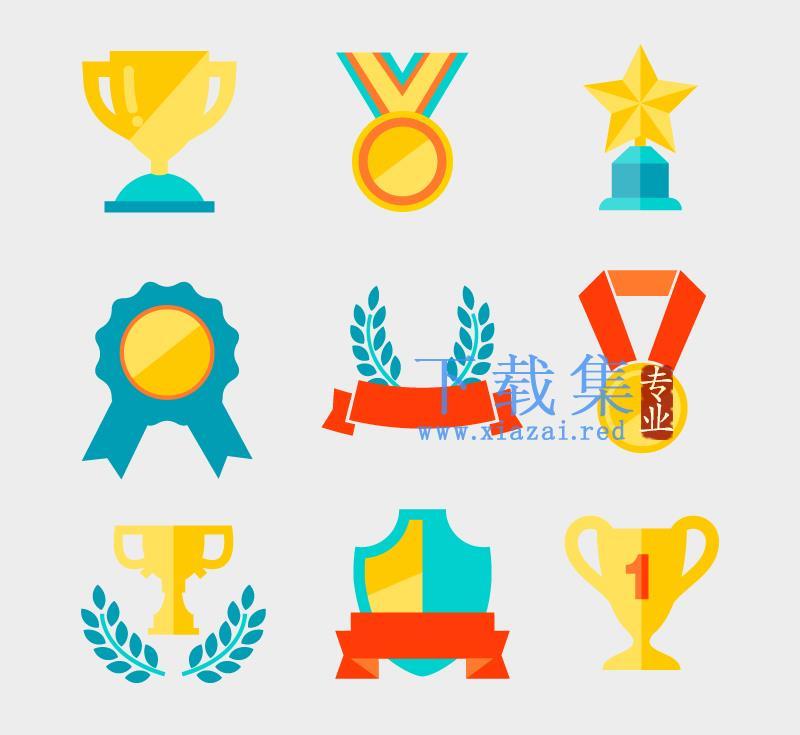 9枚奖牌和奖杯AI矢量素材  第1张