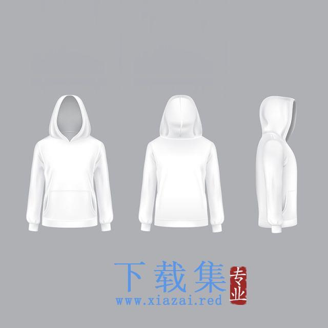 逼真的白色帽衫矢量模型
