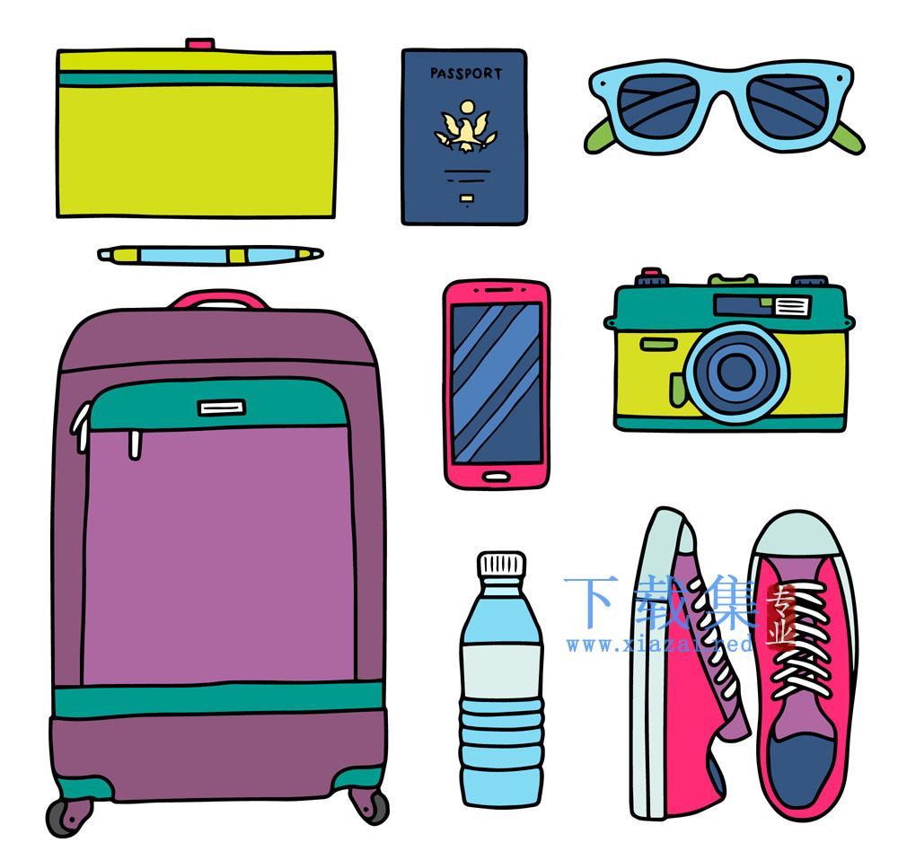 8款旅游物品矢量素材