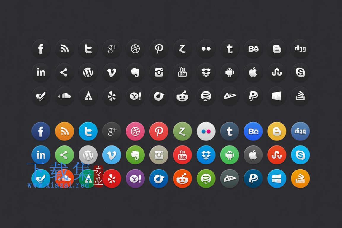 24个漂亮的圆形社交媒体PSD图标