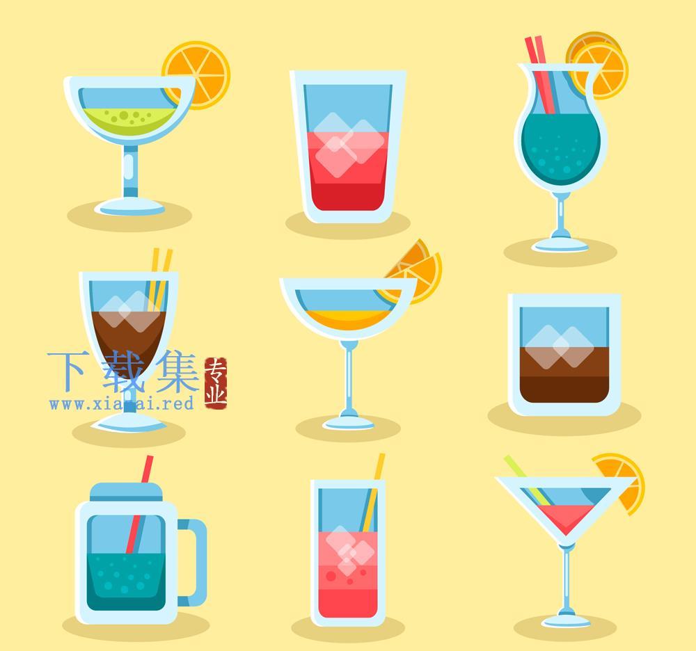 9款创意夏季鸡尾酒矢量素材