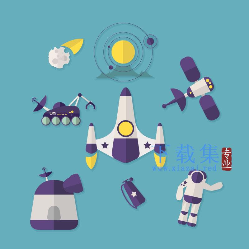8个太空空间探索AI矢量图标  第1张