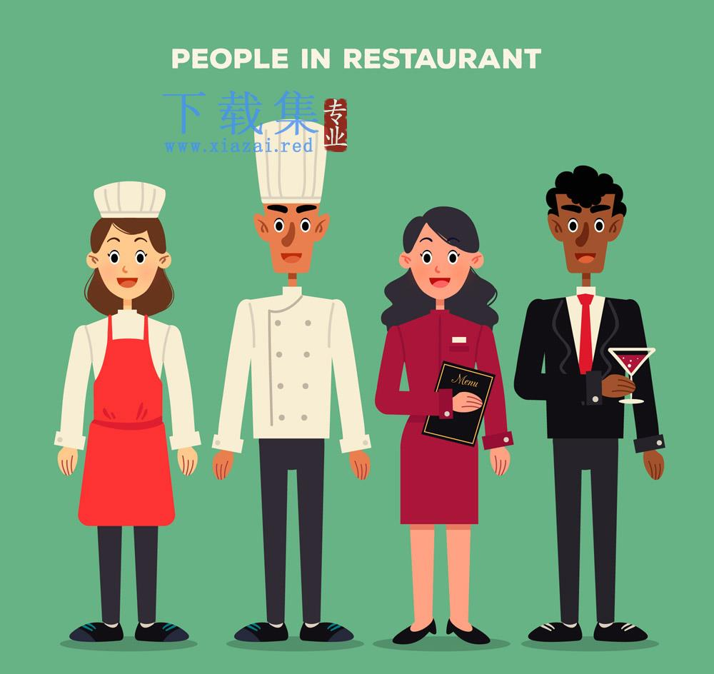 4款创意餐厅服务员矢量素材