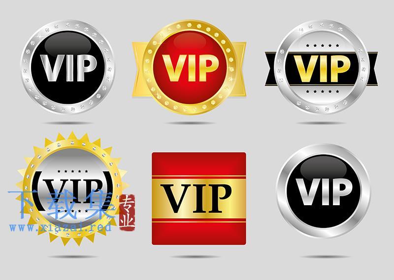 6个不通颜色VIP贵宾EPS矢量图标  第1张